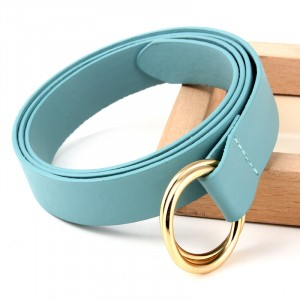 Double Ring Round Buckle Personalized Knotted Belt - Light Blue