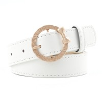 Girls Bow Ring Gold Buckle Decoration Belt - White