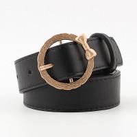 Girls Bow Ring Gold Buckle Decoration Belt - Black