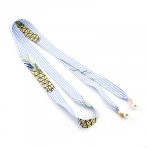 Ladies Floral Chiffon Pearl Pendant Knotted Belt - Blue White
