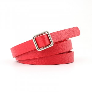 Square Buckle Ladies Knotted Tie Thin Belt - Red
