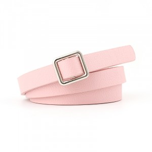 Square Buckle Ladies Knotted Tie Thin Belt - Pink