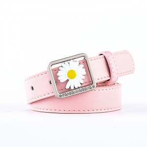 Girls Casual Belt With Daisy Flower Decoration - Pink