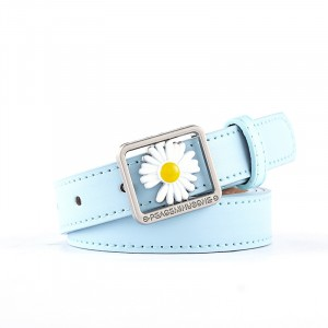 Girls Casual Belt With Daisy Flower Decoration - Sky Blue