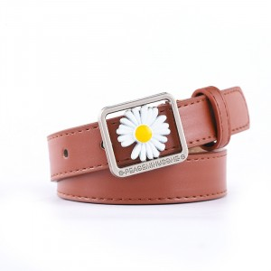Girls Casual Belt With Daisy Flower Decoration - Light Brown
