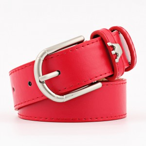 Wide Belt With Stylish Crown Decoration Buckle - Red