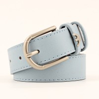 Wide Belt With Stylish Crown Decoration Buckle - Sky Blue