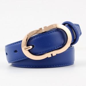 Ladies Simple Gold Buckle Versatile Belt - Blue