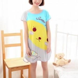 Round Neck Loose Sleepwear Women Night Sleep Pajama Top - Gray