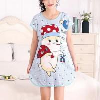 Round Neck Loose Sleepwear Women Night Sleep Pajama Top - Light Blue