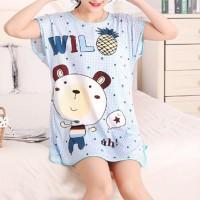 Round Neck Loose Sleepwear Women Night Sleep Pajama Top - White Blue