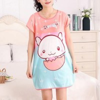 Round Neck Loose Sleepwear Women Night Sleep Pajama Top - Pink Blue