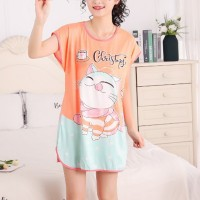 Round Neck Loose Sleepwear Women Night Sleep Pajama Top - Orange