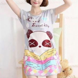 Round Neck Loose Sleepwear Women Night Sleep Pajama Top - Light Gray