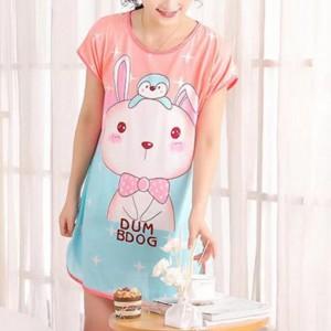 Round Neck Loose Sleepwear Women Night Sleep Pajama Top - Light Pink