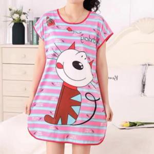 Round Neck Loose Sleepwear Women Night Sleep Pajama Top - Purple