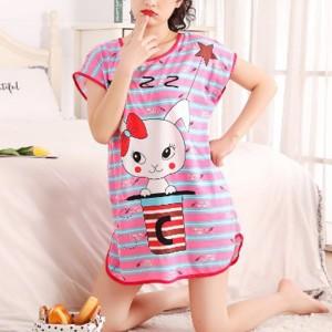 Round Neck Loose Sleepwear Women Night Sleep Pajama Top - Purple Red
