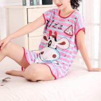 Round Neck Loose Sleepwear Women Night Sleep Pajama Top - Purple Gradient