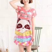 Round Neck Loose Sleepwear Women Night Sleep Pajama Top - Pink Red