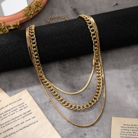 Multi Layered Gold Plated Women Fashion Necklace