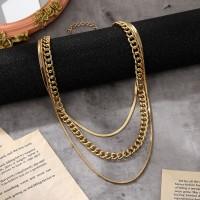 Multi Layered Gold Plated Women Fashion Necklace