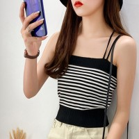 Spaghetti Strapped Ribbed Body Fitted Women Fashion Tops - Black