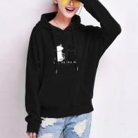 Cats Printed Loose Long-sleeved Women Hoodies - Black