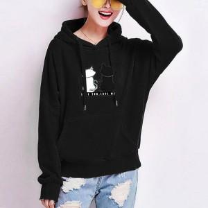 Cats Printed Loose Long Sleeved Women Hoodies - Black