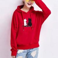 Cats Printed Loose Long-sleeved Women Hoodies - Red