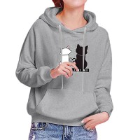 Cats Printed Loose Long-sleeved Women Hoodies - Gray