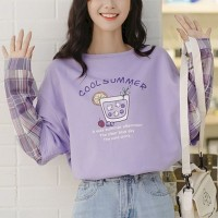 Round Neck Alphabetic Prints Full Sleeves Top - Purple