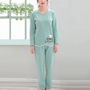 Cartoon Printed Round Neck Two Piece Sleepwear Pajama Sets - Blue