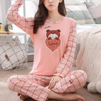 Cartoon Printed Round Neck Two Piece Sleepwear Pajama Sets - Pink