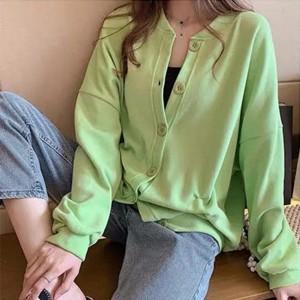 Button Up Winter Wear O Neck Blouse Top - Green