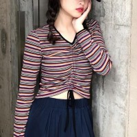 Striped Printed Drawstring Body Fitted Women Fashion Top - Multicolor