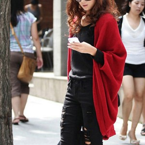 Shawl Neck Solid Color Women Fashion Cardigan - Red
