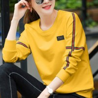 Contrast Casual Wear Full Sleeves Round Neck T-Shirt - Yellow