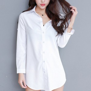 Button Up Full Sleeved Formal Wear Solid Shirt - White