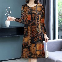 Full Sleeve Digital Printed Bohemian Mini Dress - Brown