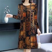 Full Sleeve Digital Printed Bohemian Mini Dress - Brown