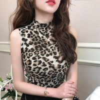 Leopard Printed Stand Neck Sleeveless Bodyfitted Top