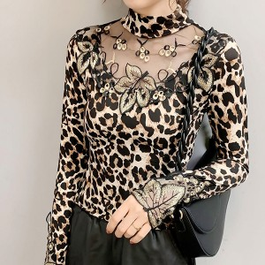 Leopard Printed Stand Neck Full Sleeves Printed Top