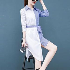 Contrast Shirt Collar Button Up Strap Irregular Dress - White