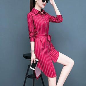Contrast Shirt Collar Button Up Strap Irregular Dress - Red