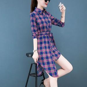 Contrast Shirt Collar Button Up Strap Irregular Dress - Blue