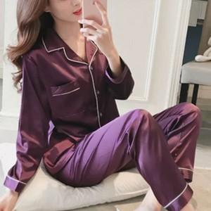 Suit Neck Button Up Nightwear Sleepwear Two Pieces Pajama Sets - Purple