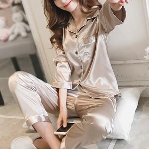 Suit Neck Button Up Nightwear Sleepwear Two Pieces Pajama Sets - Khaki