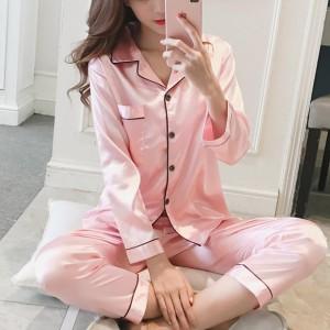 Suit Neck Button Up Nightwear Sleepwear Two Pieces Pajama Sets - Pink