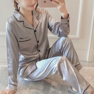 Suit Neck Button Up Nightwear Sleepwear Two Pieces Pajama Sets - Gray