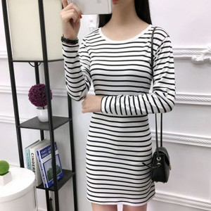 Striped Printed Round Neck Body Fitted Dress - White